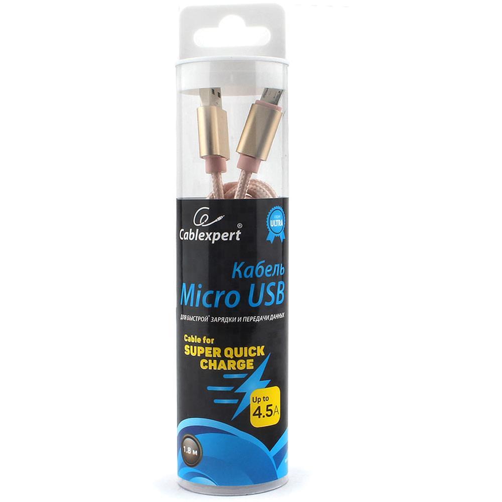 Фото - Кабель USB2.0 тип А(m)-microB(5P) 1.8м. Cablexpert CC-U-mUSB01Gd-1.8M серия Ultra золотой кабель microusb 1 8м cablexpert cc u musb01gd 1 8m круглый золото
