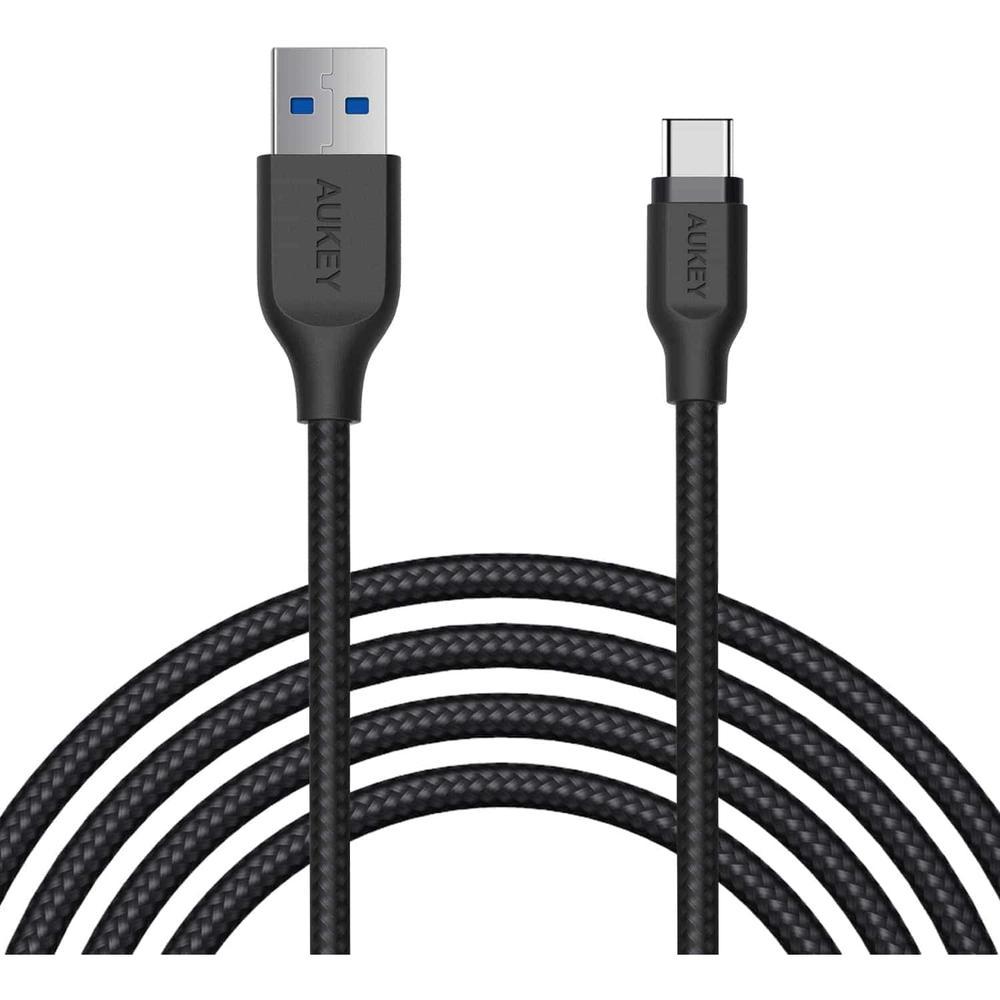 Фото - Кабель USB3.1 USB-C(m)-A(m) 2m чёрный Aukey Braided Nylon (CB-AC2) алюминий/нейлон кабель usb2 0 usb c m c m 1 2m чёрный aukey cb cd29