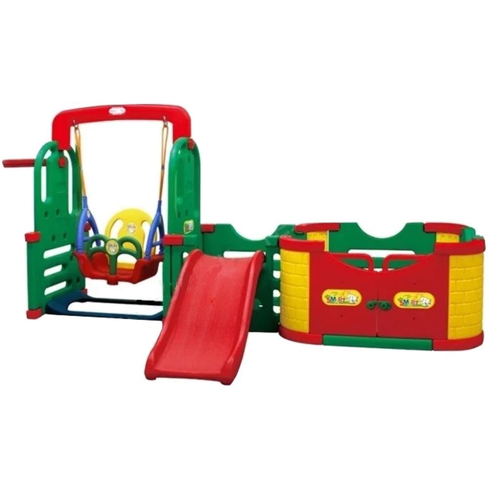 Игровой комплекс Happy Box SMARTPARK(Игроваязона,горка,качелисмуз.панелью,баскетбольноекольцо)JM-1003