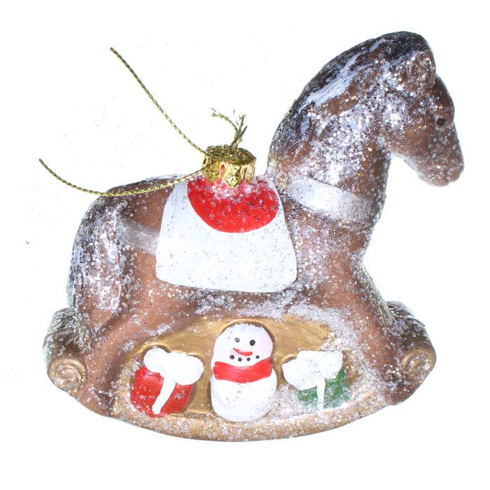 Ёлочное украшение Новогодняя сказка Лошадка 11 см, (пластик)