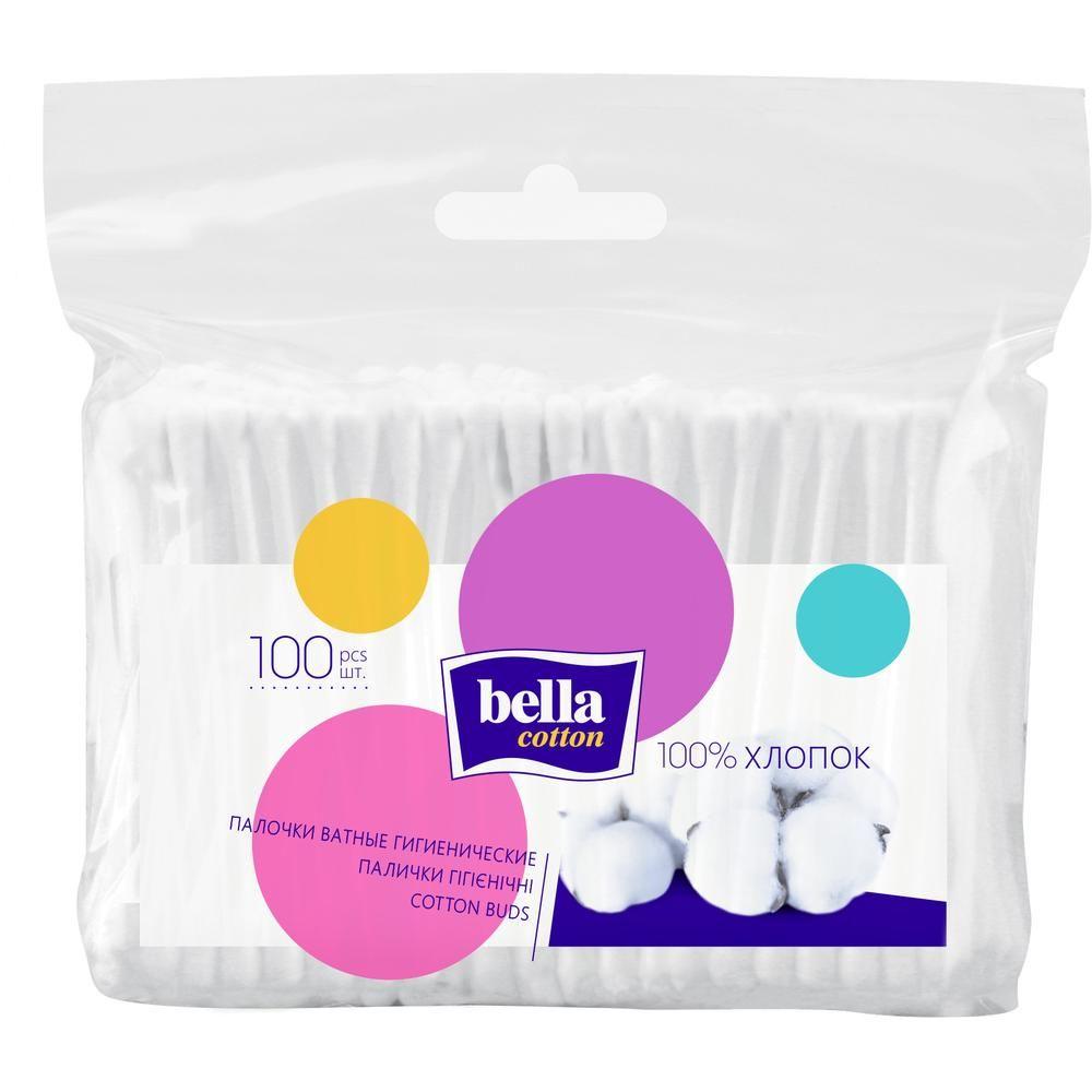 Ватные палочки Bella Cotton гигиенические, пакет, 100 шт/уп.