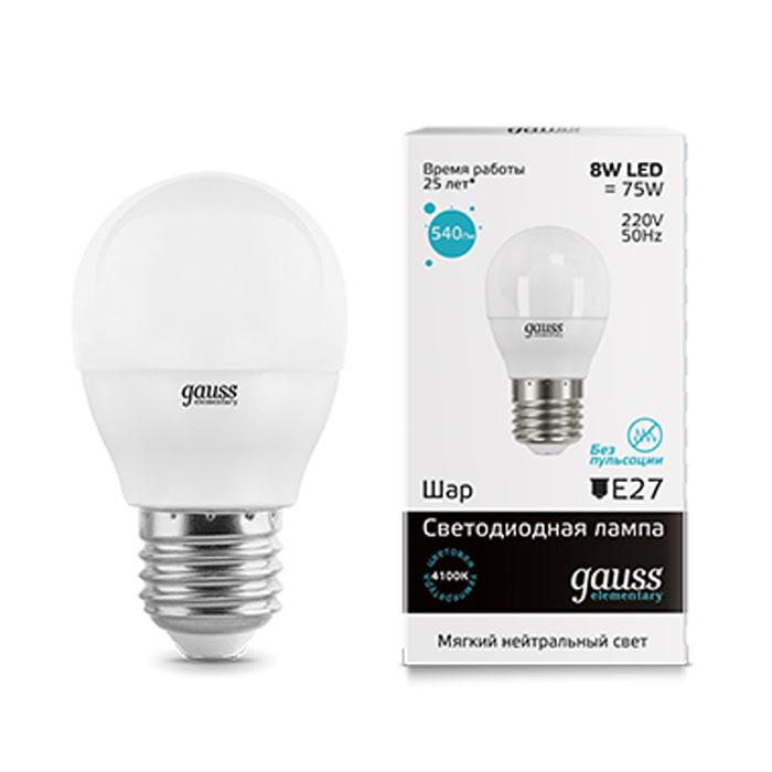 Фото - Светодиодная лампа Gauss Elementary LED Globe E27 8W 4100K 53228 светодиодная лампа gauss elementary led globe e27 6w 6500k 53236