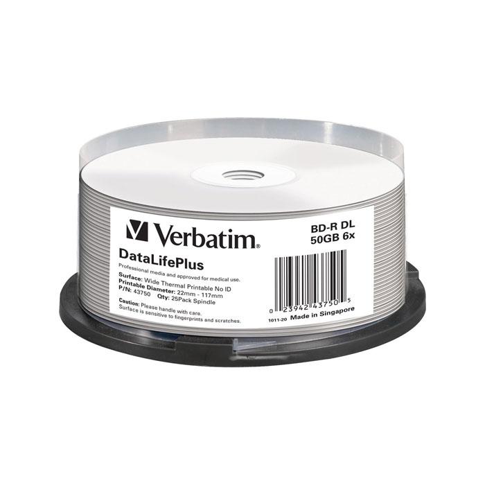 Фото - Оптический диск BD-R диск Verbatim 50Gb 6x CakeBox (25шт) (43750) диск