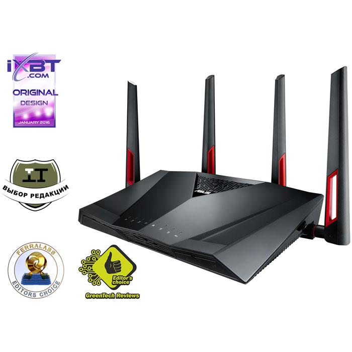 Беспроводной маршрутизатор ASUS RT-AC88U 802.11ac 3167Мбит/с 2,4 ГГц и 5ГГц 8xGbLAN USB2.0x1 USB3.0x1 поддержка IPTV 3G/4G модемов