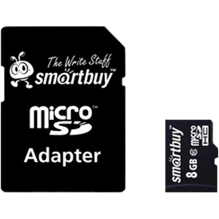 Фото - Карта памяти Micro SecureDigital 8Gb Smartbuy SDHC class 10 (SB8GBSDCL10-01) + SD адаптер карта памяти micro sdxc 64gb class 10 smartbuy sb64gbsdcl10 01 sd адаптер