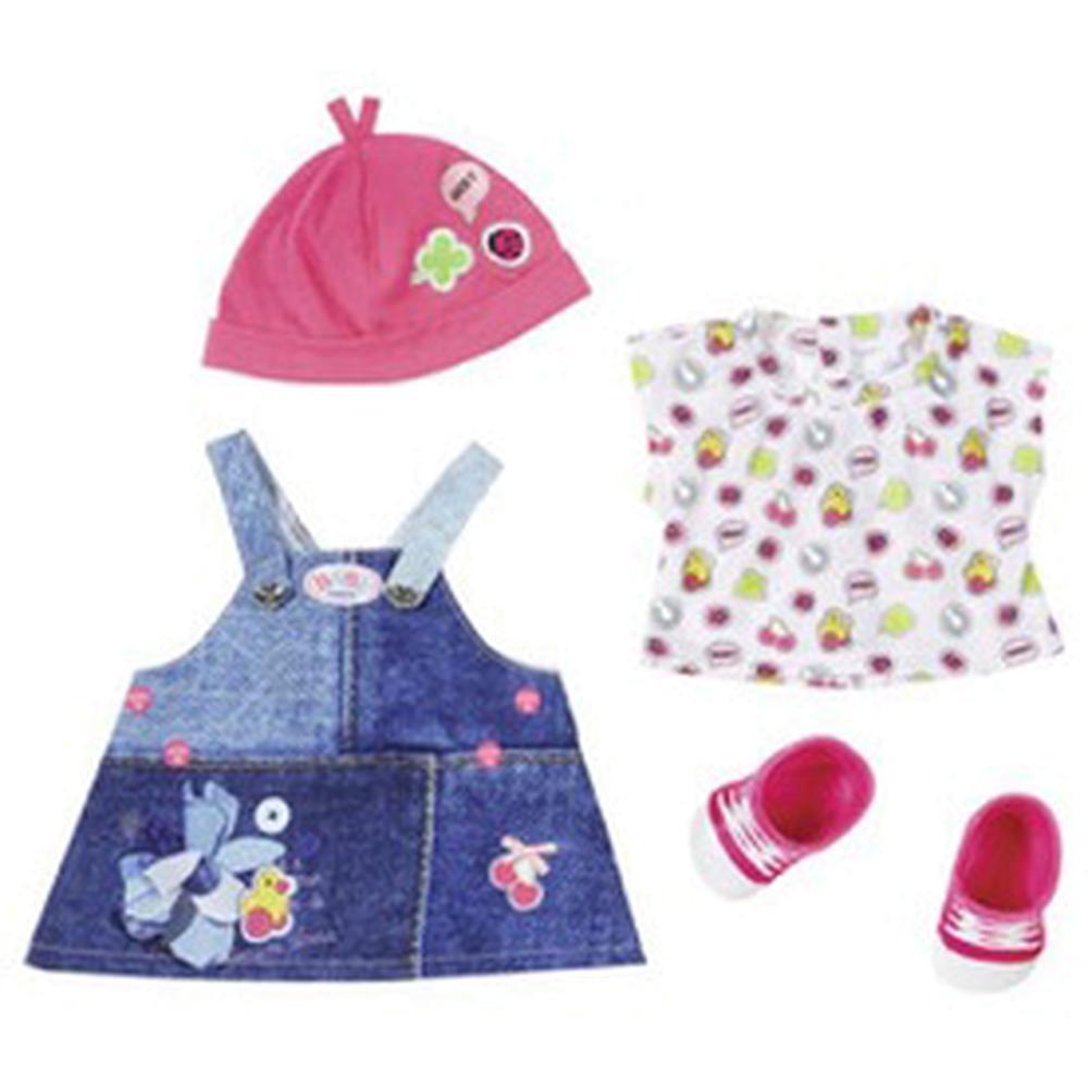 Zapf Creation Baby born Одежда Джинсовая коллекция 824-498 (джинсовый сарафан, белая маечка)