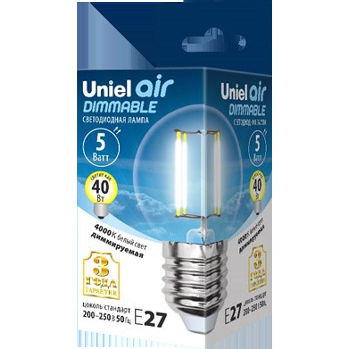 Светодиодная лампа Uniel Air LED-G45-5W/NW/E27/CL/DIM GLA01TR UL-00002871 светодиодная лампа uniel air led a60 7w nw e27 cl dim gla01tr ul 00002874