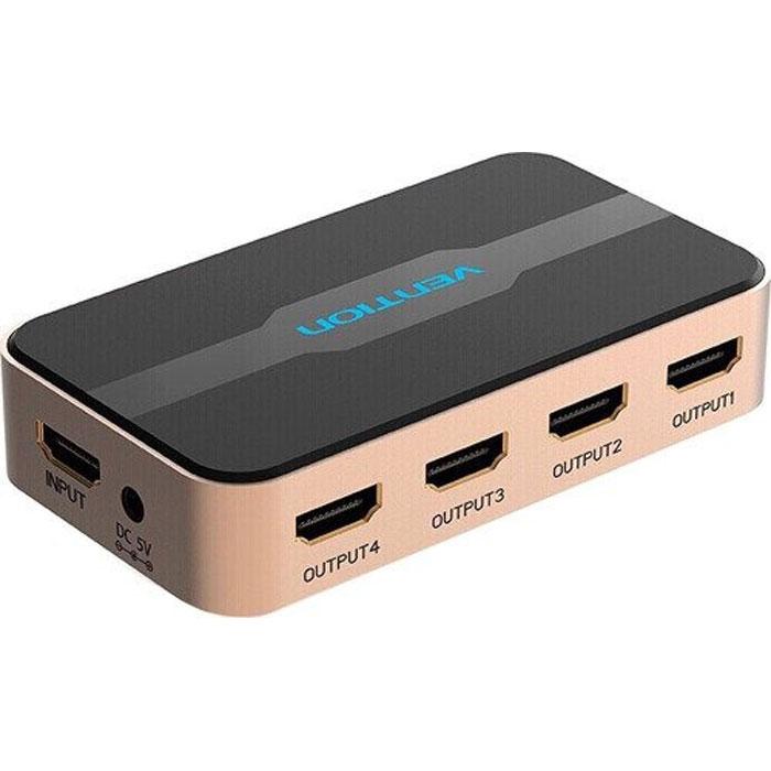 Фото - Разветвитель Vention ACCG0, 1 HDMI вход => 4 HDMI разветвитель hdmi spliitter 1 4 3d full hd vcom 1 4v [vds8040d] каскадируемый сплиттер на 4 монитора телевизора