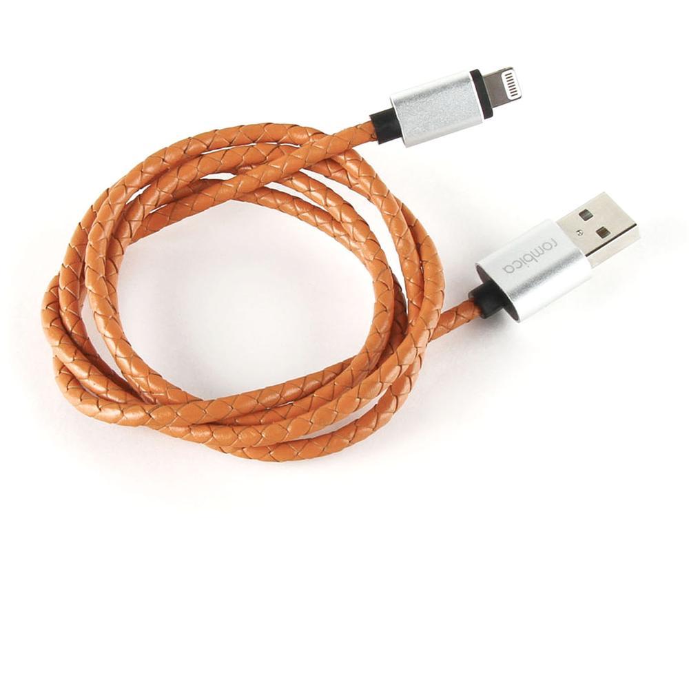 Фото - Кабель для Apple Lightning MFI Rombica Digital IL-03 1м оплетка под кожу, охра кабель для apple lightning mfi rombica digital il 02 1м оплетка под кожу серый