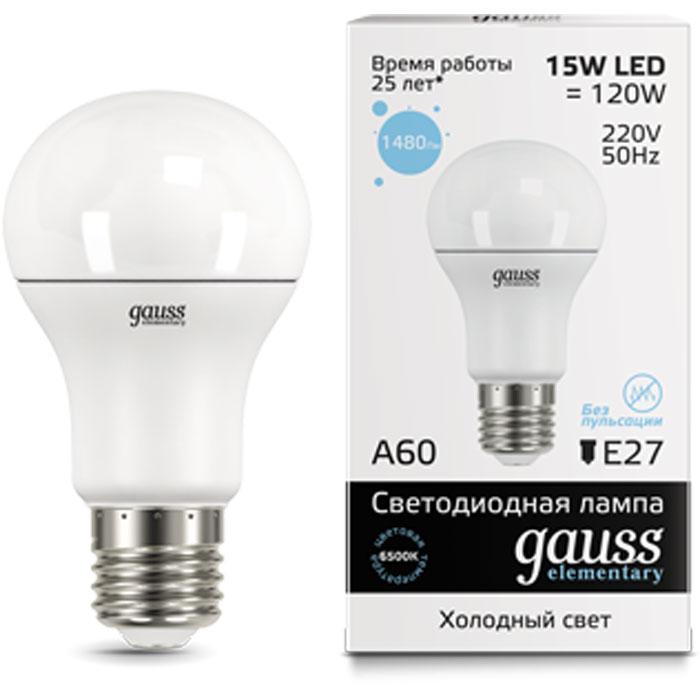 Фото - Светодиодная лампа Gauss Elementary LED A60 E27 15W 6500K 23235 светодиодная лампа gauss elementary led globe e27 6w 6500k 53236