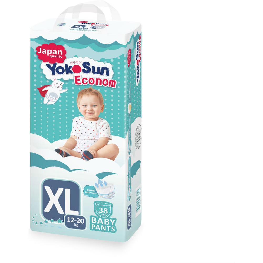 Фото - Трусики-подгузники Yokosun Econom XL (12-20 кг), 38 шт yokosun трусики xl 12 20 кг 76 шт игрушка для ванной котик йоко