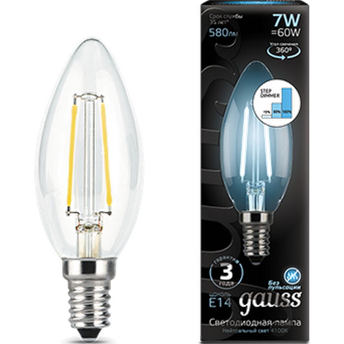 Светодиодная лампа Gauss Black Filament LED Candle E14 7W 4100K Step Dimmable 103801207-S лампа gauss led filament шар e27 7w 550lm 2700k step dimmable 1 10 50