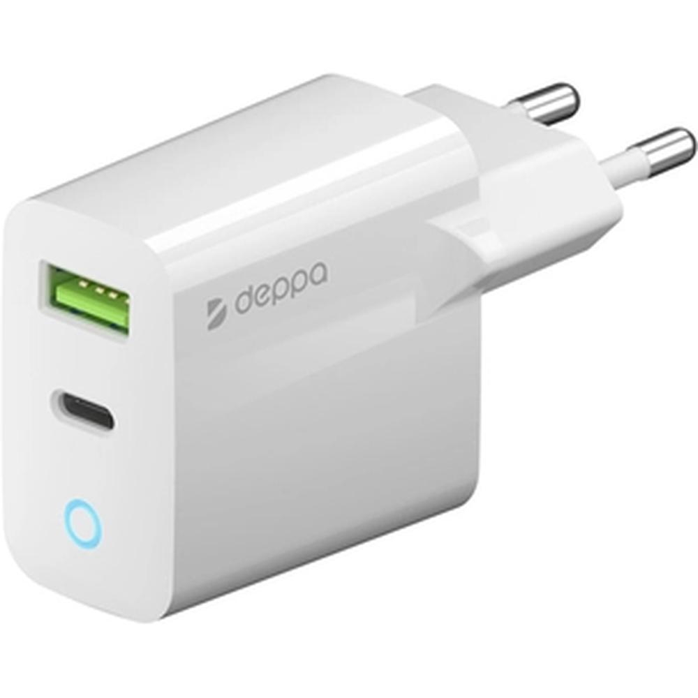 Фото - Сетевое зарядное устройство Deppa Power Delivery QC 3.0 20Вт USB A + Type-C белое (11398) зарядное устройство sonnen bc2