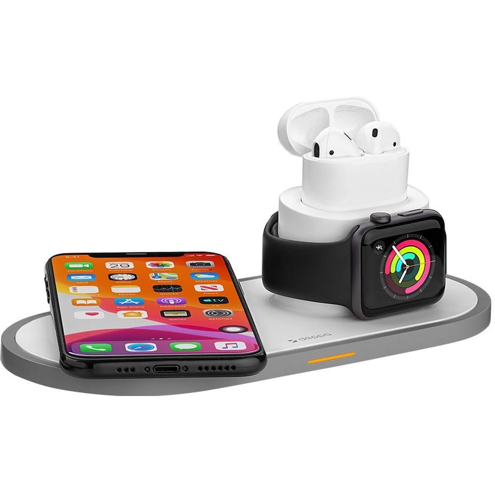 Фото - Беспроводная зарядная панель 3 в 1 Для IPhone, Apple Watch, Airpods Deppa (24006), White защитное стекло simolina для apple watch iwatch42мм 42 мм 1 шт