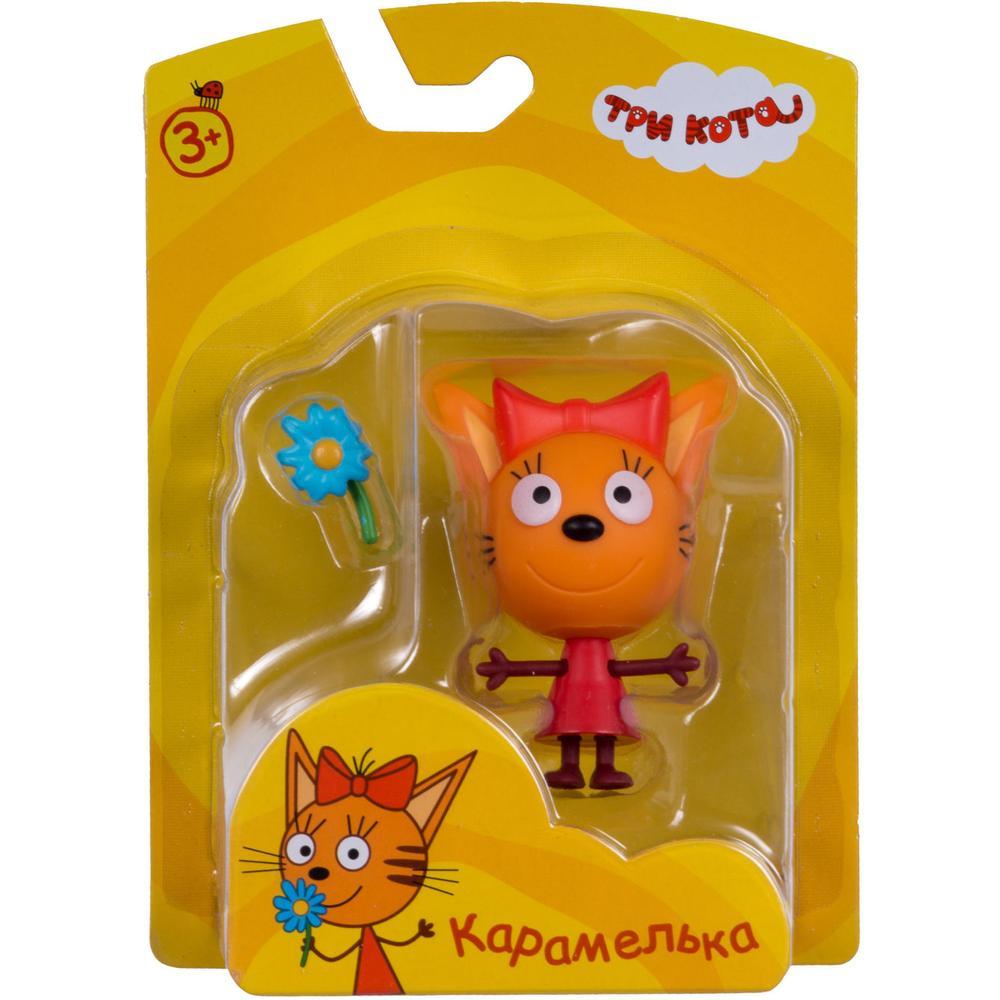 Фигурка пластиковая 1toy Три кота Карамелька 7,6 см., подвижные ножки и ручки, с аксессуаром, на блистере