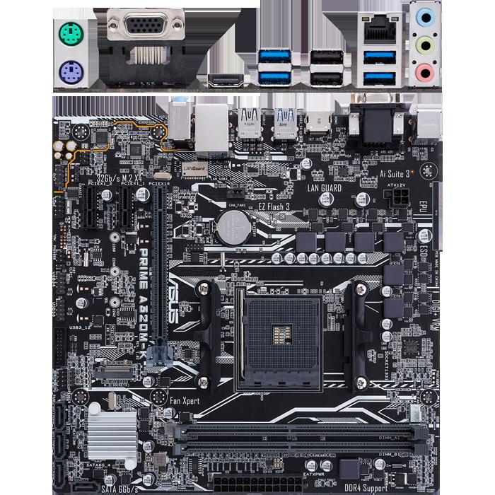 Материнская плата ASUS Prime A320M-K A320 Socket AM4 2xDDR4, 4xSATA3, RAID, 1xM.2, 1xPCI-E16x, 4xUSB3.0, VGA, HDMI, Glan, mATX материнская плата asus prime a520m a a520 socket am4 4xddr4 4xsata3 raid 1xm 2 1xpci e16x 4xusb3 2 d sub dvi d hdmi glan matx