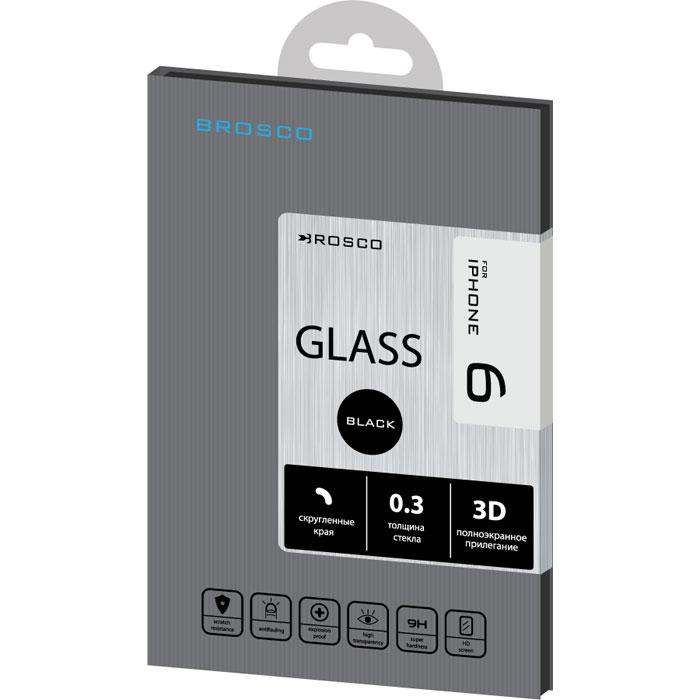 Защитное стекло для iPhone 6 Brosco 3D, изогнутое по форме дисплея, с черной рамкой защитное стекло для iphone 6 plus onext 3d изогнутое по форме дисплея с прозрачной рамкой