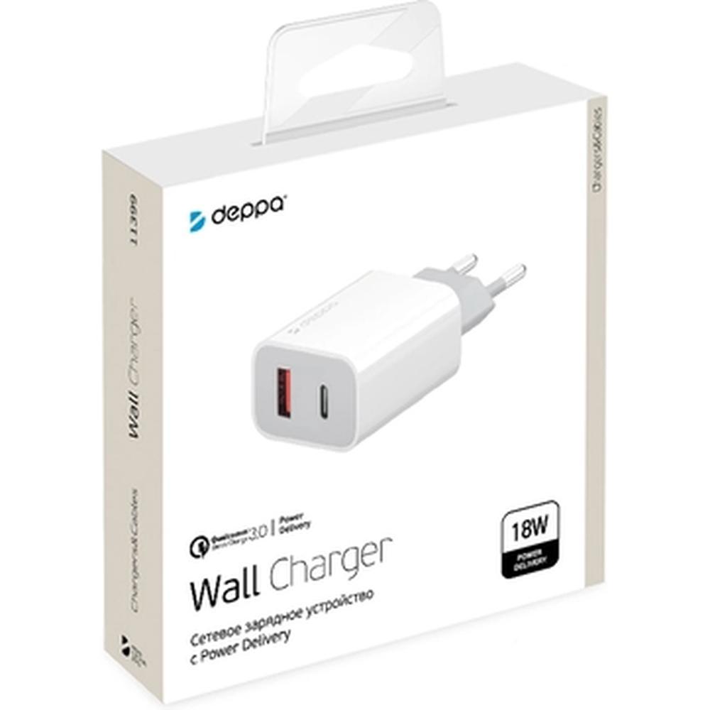 Фото - Сетевое зарядное устройство Deppa Power Delivery QC 3.0 18Вт USB A + Type-C белое (11399) зарядное устройство sonnen bc2