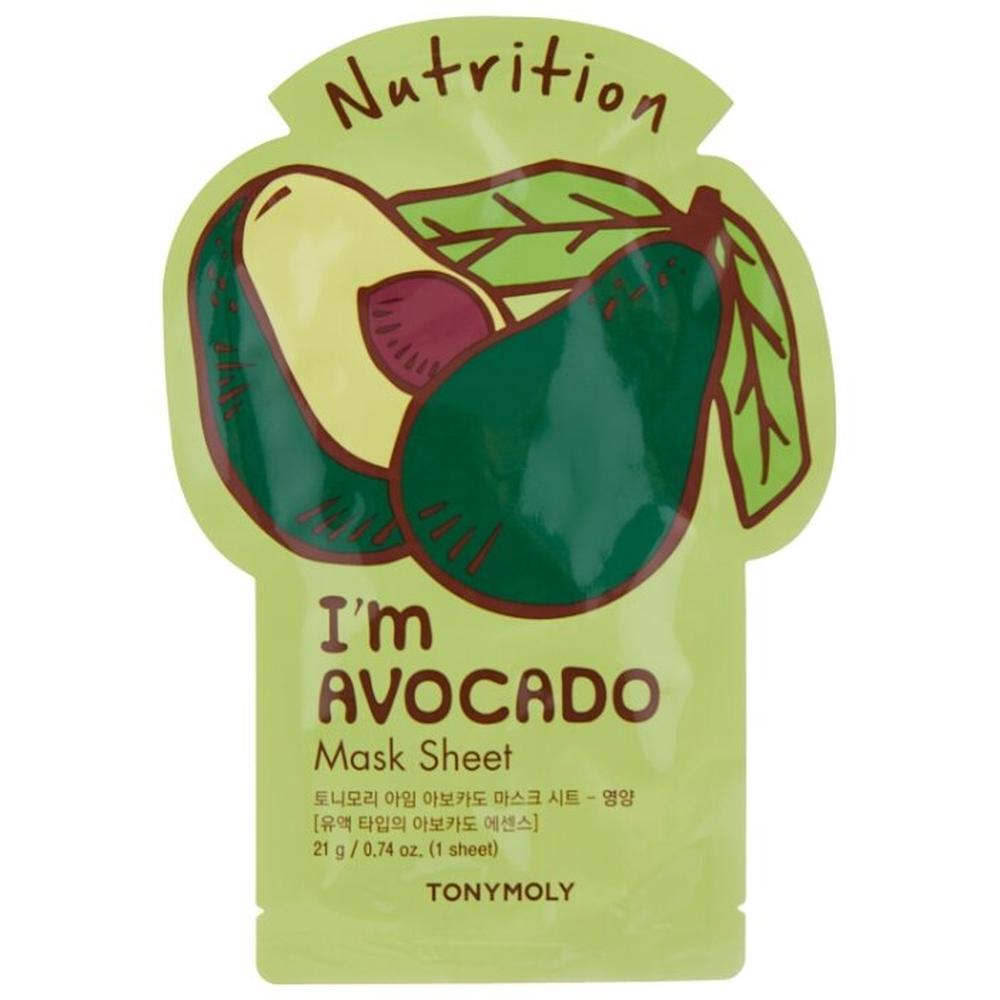 TONY MOLY Питательная тканевая маска для лица с экстрактом авокадо I'm AVOCADO Mask Sheet Nutrition, 21 г.