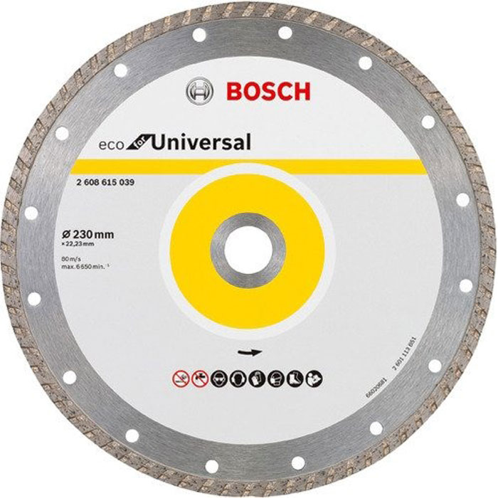 Алмазный диск Bosch Eco for Universal Turbo 230-22,23 2608615039 алмазный диск bosch universal turbo 180 22 23 eco 2 608 615 038