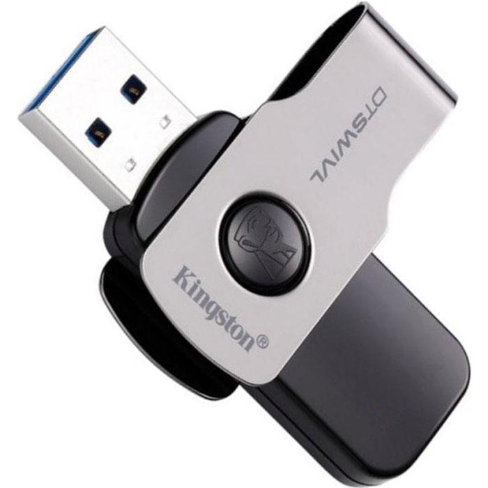 USB Flash накопитель 32GB Kingston DataTraveler SWIVL (DTSWIVL/32GB) USB 3.0 Черный usb накопитель kingston datatraveler duo 3 0 32gb black