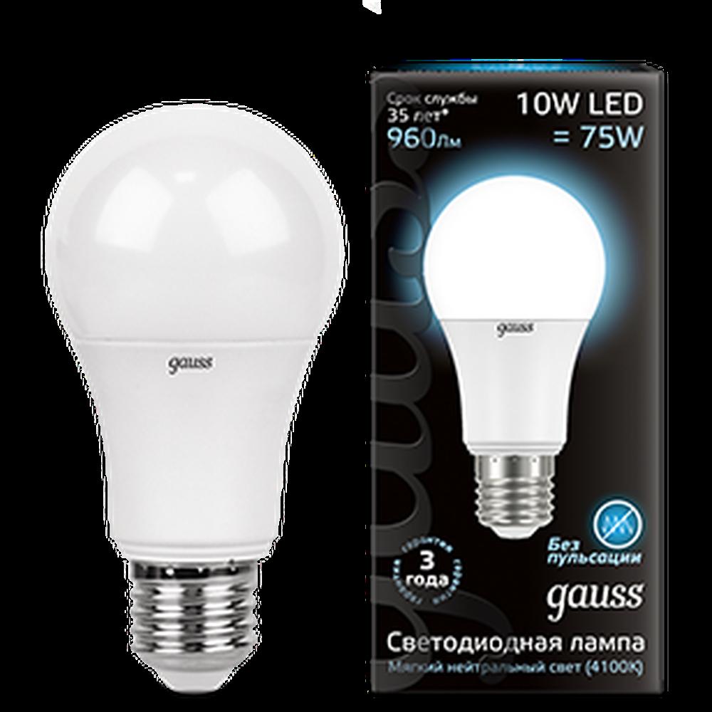 Фото - Упаковка светодиодных ламп Gauss Black LED A60 E27 10W 4100K 102502210 x10 лампа светодиодная gauss 102502210 s led a60 10w e27 4100k step dimmable 1 10 50