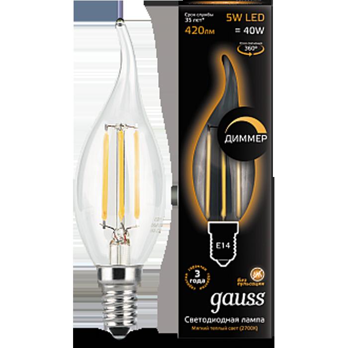 Светодиодная лампа Gauss Black Filament LED Candle Tailed E14 5W 2700K диммирумемая 104801105-D светодиодная лампа gauss black filament led candle tailed e14 11w 2700k 104801111