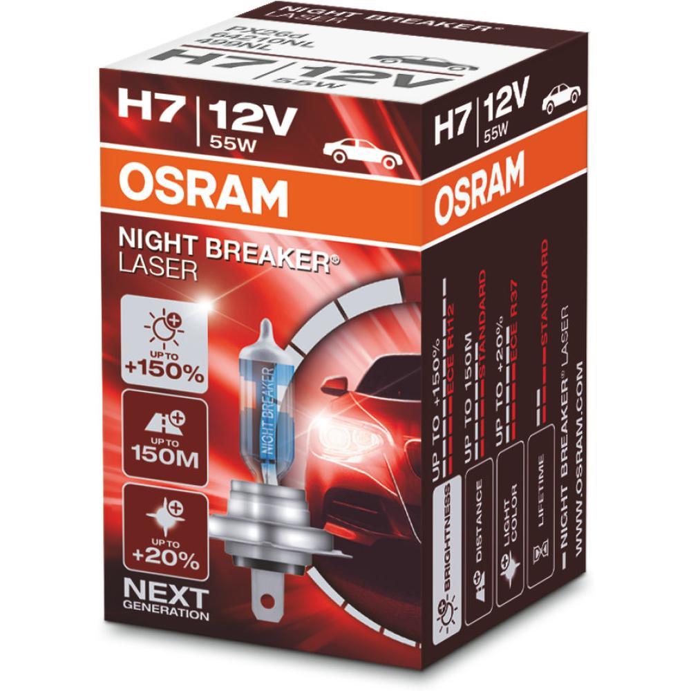 Автомобильная лампа H7 12V 55W Night Breaker Laser Osram 1 шт.