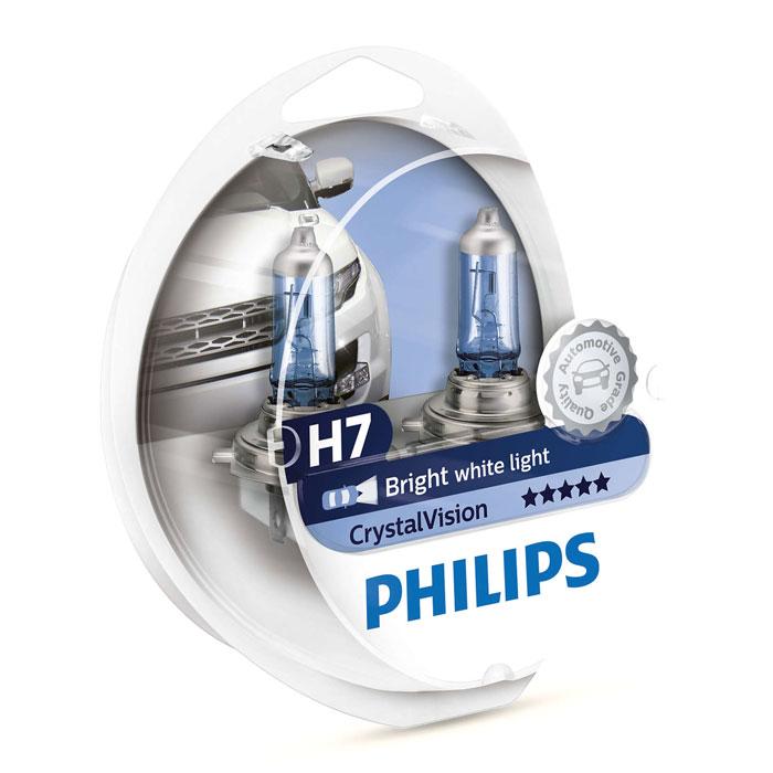 Автомобильная лампа H7 55W Crystal Vision 2шт. + W5W 2шт. Philips автомобильная лампа h7 55w white vision 2шт w5w 2шт philips