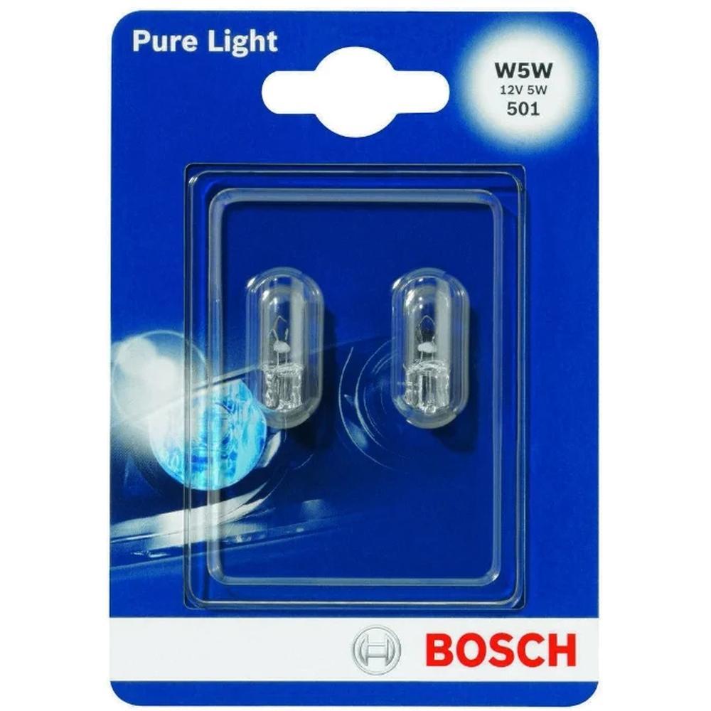 Автомобильная лампа Bosch Pure Light W5W 12V 5W комплект 2 шт. 1987301026
