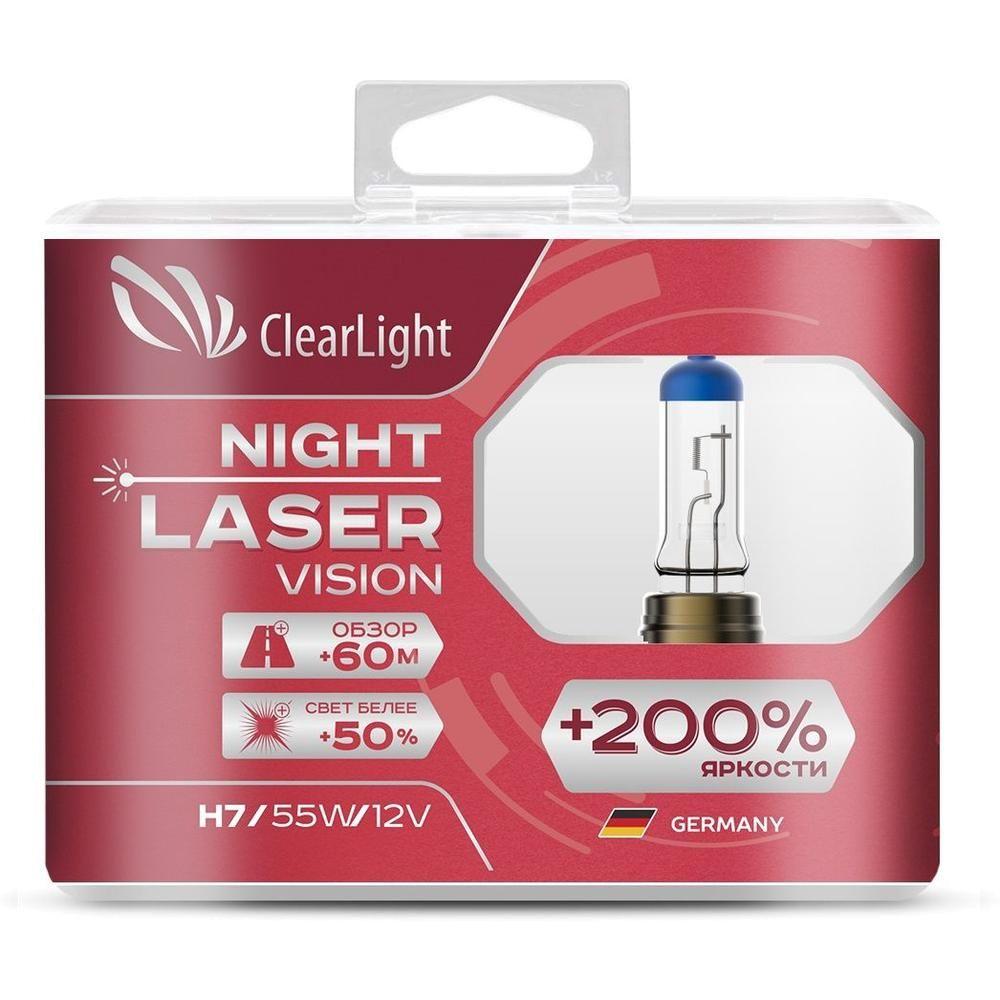 Автомобильная лампа Clearlight H4 12V-60/55W Night Laser Vision +200% Light 2 шт автомобильная лампа clearlight h7 12v 55w xenonvision 2 шт