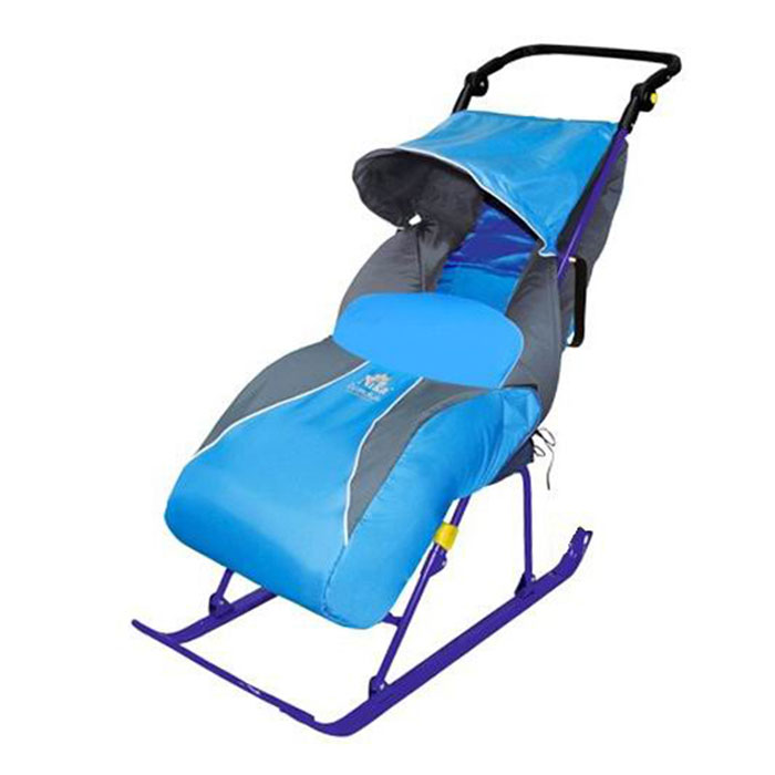 Санки-коляска Ника Тимка 2+ (плоские полозья, подножка, перекидная ручка, чехол д/ног, светоотр.кант) Лаванда