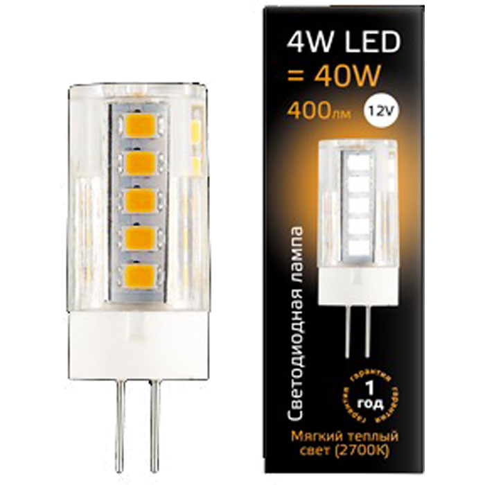 Светодиодная лампа Gauss Black LED G4 4W 12V 2700K Керамика 207307104