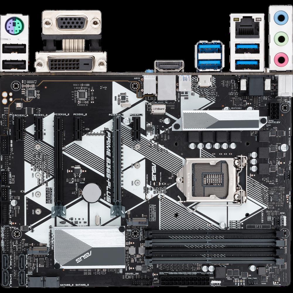 Материнская плата ASUS Prime B365-Plus B365 Socket-1151v2 4xDDR4, 6xSATA3, 2xM.2, 2xPCI-E16x, 4xUSB3.1, D-Sub, DVI-D, HDMI, Glan, ATX материнская плата gigabyte b450 gaming x b450 socket am4 4xddr4 6xsata3 raid 1xm 2 2xpci e16x 4xusb3 1 dvi d hdmi glan atx