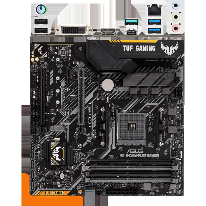Материнская плата ASUS TUF B450M-Plus Gaming B450 Socket AM4 4xDDR4, 6xSATA3, RAID, 1xM.2, 2xPCI-E16x, 3xUSB3.1, 1xUSB3.1 Type C, DVI-D, HDMI, Glan, mATX материнская плата asus prime a520m a a520 socket am4 4xddr4 4xsata3 raid 1xm 2 1xpci e16x 4xusb3 2 d sub dvi d hdmi glan matx