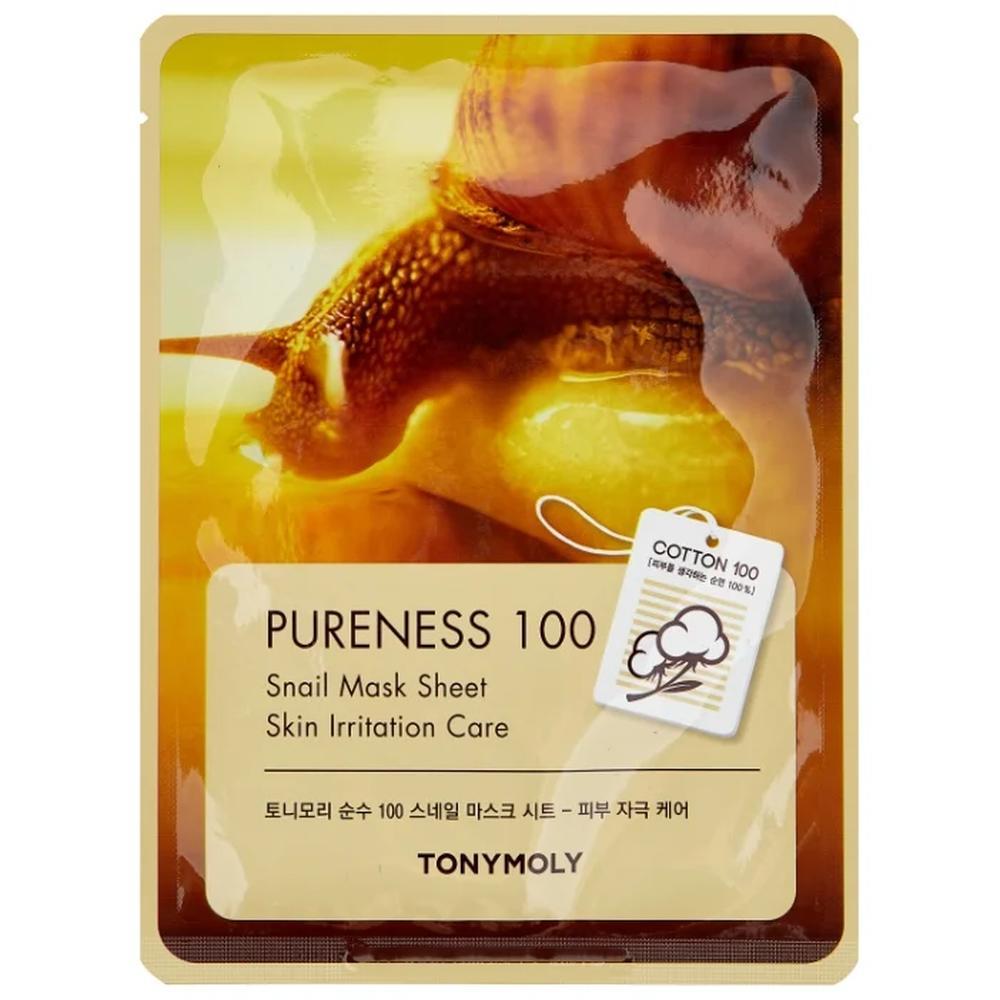 TONY MOLY тканевая маска Pureness 100 Snail для поврежденной кожи, 21 г.