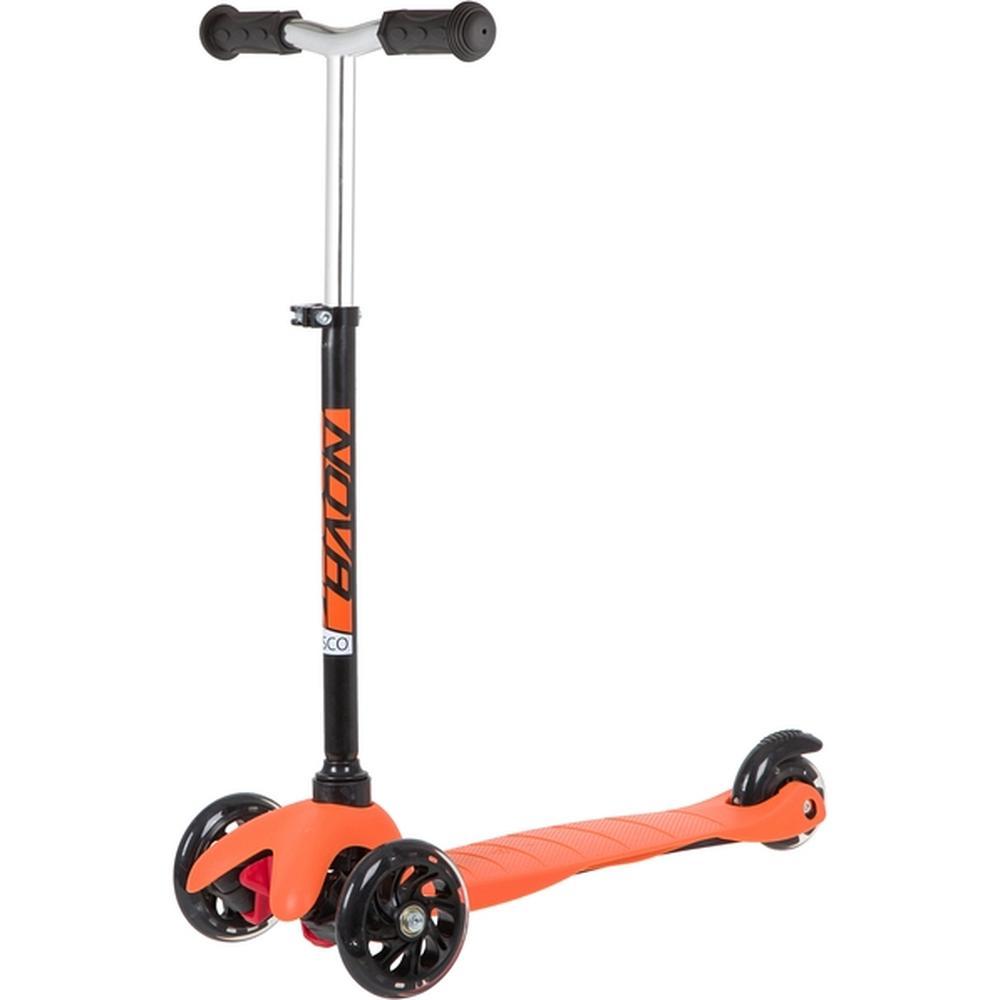 Самокат детский Novatrack Disco-kids Basic свет.колеса PU пер.120*24 задн.76*24мм, регулируемый по высоте, черно-оранжевый