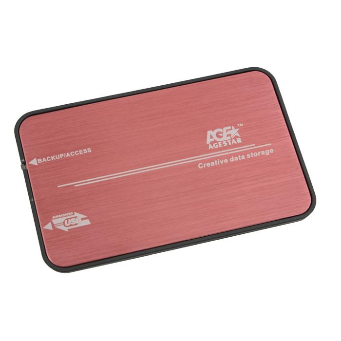 Корпус 2.5 AgeStar 3UB2A8 SATA, USB3.0 Red