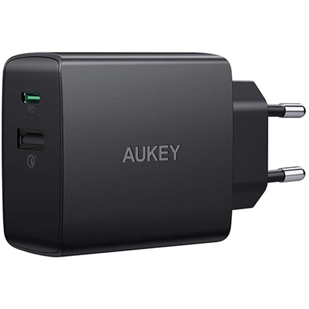 Фото - Сетевое зарядное устройство Aukey Wall Charger PA-Y17 18W QC3.0+USB-C, черное сетевое зарядное устройство aukey dual port wall charger pa d1 30w usb usb c черное