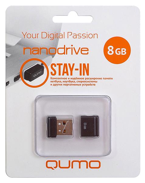 USB Flash накопитель 8GB Qumo Nano (QM8GUD-NANO-B) 2.0 черный