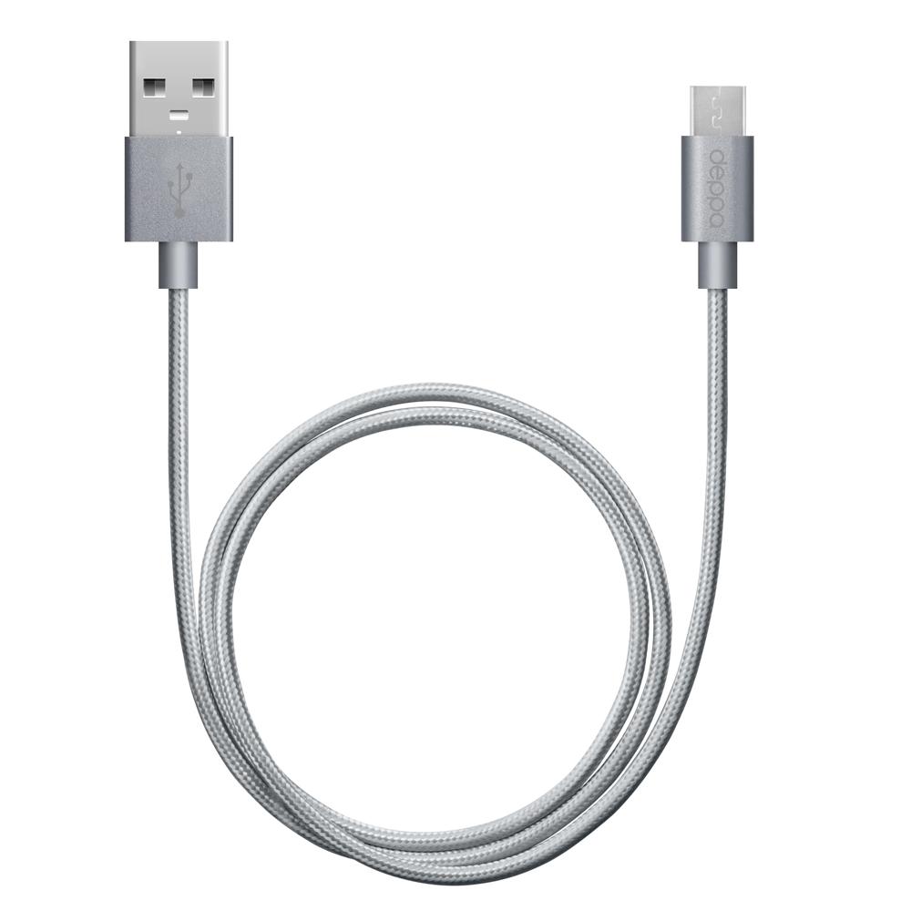 Фото - Кабель USB-MicroUSB 1.2m графит Deppa (72192) алюминий/нейлон кабель aux pro deppa 3 5мм 3 5мм алюминий 1 2м серебро 72198