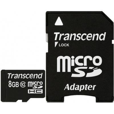 Фото - Карта памяти Micro SecureDigital 8Gb HC Transcend class10 (TS8GUSDHC10) + SD адаптер карта памяти micro securedigital 32gb hc transcend class10 uhs 1 ts32gusd300s a sd адаптер