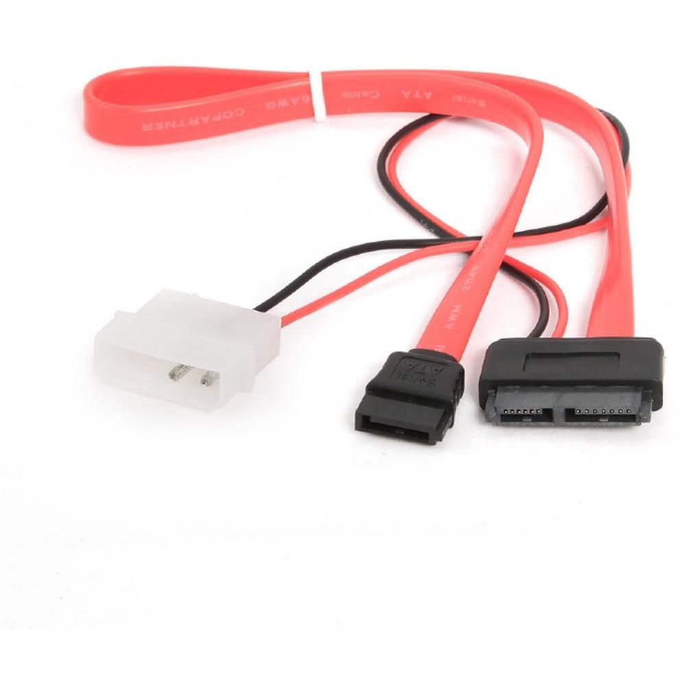 Кабель Combo Slim(mini) SATA Cablexpert CC-SATA-C2, molex+SATA/SATA, 15pin+7pin, (длина инт - 35см, питание - 30см)