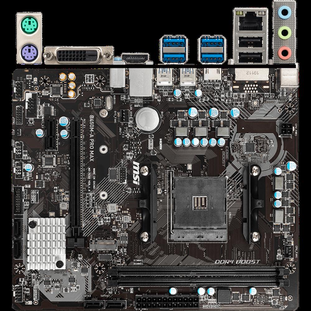 Материнская плата MSI B450M-A Pro Max B450 Socket AM4 2xDDR4, 4xSATA3, RAID, 1xM.2, 2xPCI-E16x, 4xUSB3.1, DVI-D, HDMI, Glan, mATX материнская плата gigabyte b450 gaming x b450 socket am4 4xddr4 6xsata3 raid 1xm 2 2xpci e16x 4xusb3 1 dvi d hdmi glan atx