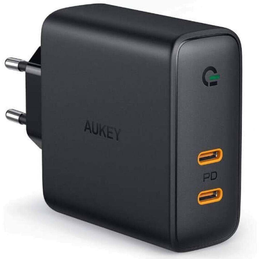 Фото - Сетевое зарядное устройство Aukey Wall Charger PA-D5 60W 2xUSB-C, черное сетевое зарядное устройство stm gl150