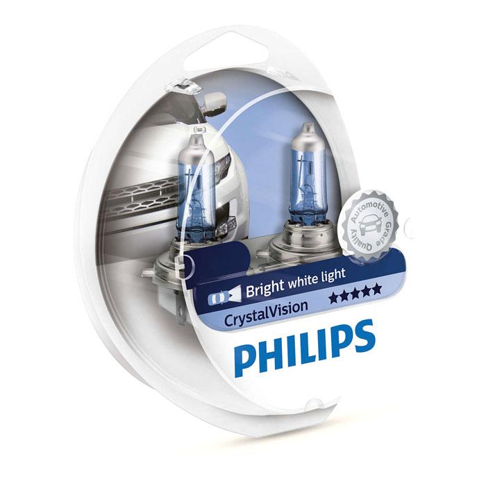 Автомобильная лампа H11 55W Crystal Vision 2шт. + W5W 2шт. Philips автомобильная лампа h7 55w white vision 2шт w5w 2шт philips