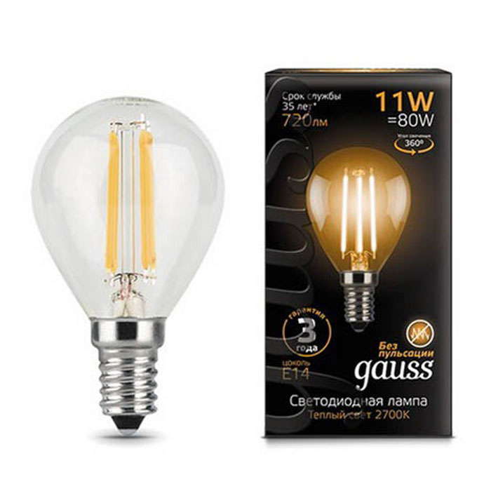 Светодиодная лампа Gauss Black Filament LED Globe E14 11W 2700K 105801111 светодиодная лампа gauss black filament led candle tailed e14 11w 2700k 104801111