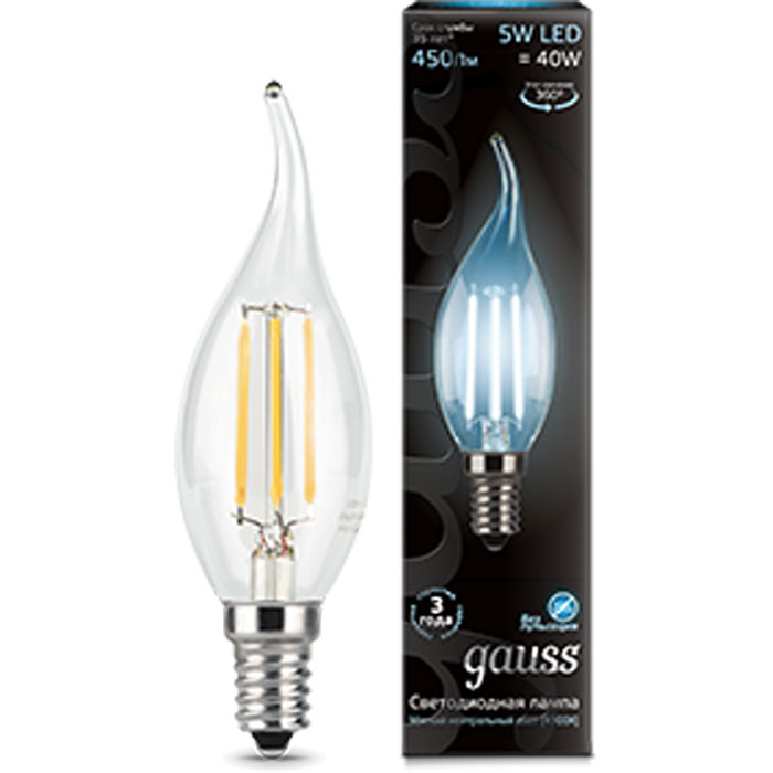 Gauss Black Filament LED Candle Tailed E14 5W 4100K 104801205