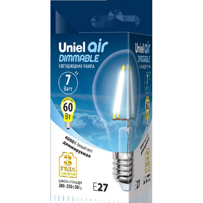 Светодиодная лампа Uniel Air LED-A60-7W/NW/E27/CL/DIM GLA01TR UL-00002874 светодиодная лампа uniel air led a60 7w nw e27 cl dim gla01tr ul 00002874