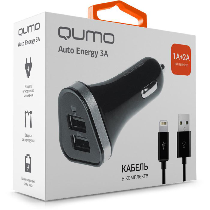 Фото - Автомобильное зарядное устройство Qumo 3.0A, 2xUSB(1A+2A), кабель Apple Lightning в комплекте, черный (20737) автомобильное зарядное устройство qumo 3 0a 2xusb 1a 2a кабель apple lightning в комплекте черный 20737